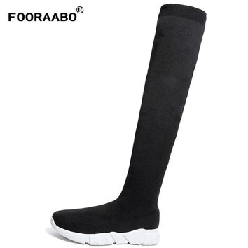Luxury Brand Socks Boots Women Over The Knee High Boots Autumn Winter Knitted Shoes Long Thigh High Boots Elastic Slim Size35-41