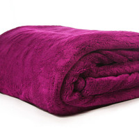 Thick Oversize Plush Soft Queen Solid Color Micro fleece Bed Throw Blanket New