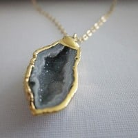 ONLY ONE 24k Gold Dipped Grey Geode Druzy by CelesteLaurenDesigns