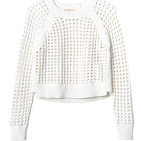 Long Sleeve Open Lattice Sweater | Rebecca Taylor
