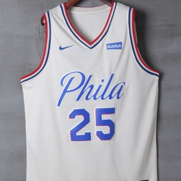 Philadelphia 76ers #25 Ben Simmons Nike Cream City Edition NBA Jerseys