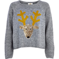 River Island Womens Grey sequin Reindeer sweater