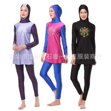 Modest Islamic Printing Swimsuit Muslim Women Conservative Swim Wear Full Coverage Bathing Suit Newest Female Anti-UV Beachwear