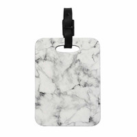 "Kess Original ""White Marble"" Gray White Decorative Luggage Tag"