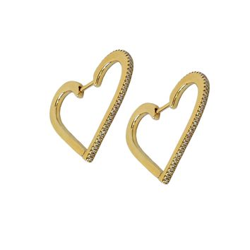 Diamond Heart Hoop Earrings