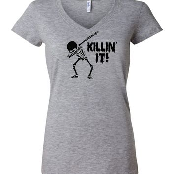 Killing It funny Skeleton Dabbing Halloween T-shirt