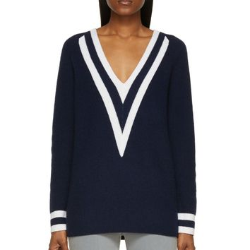 Rag And Bone Navy Cashmere Talia V-neck Sweater