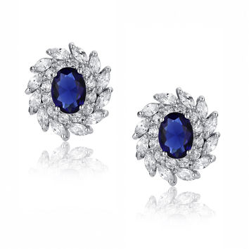 Blue Oval and Clear Swirling Cubic Zirconias Stud Earrings