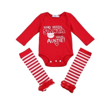 2PCS/ Who needs Santa Romper & Striped Leg Warmer Christmas Set Newborn
