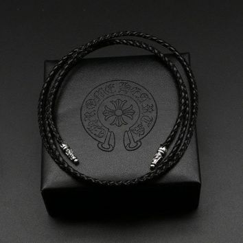 Silver Black Leather Rope Buckle Men Lanyard Simple Fashion Personality Sterling Silver Lanyard Necklace Clavicle Female Chain