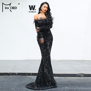 Missord 2019 Sexy Off Shoulder Feather LongSleeve Sequin floor length Evening party Maxi Reflective  Dress Vestdios FT19005