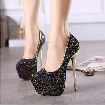 Sequins Platform Super High Stiletto Heel Round Toe High Heels Party Shoes