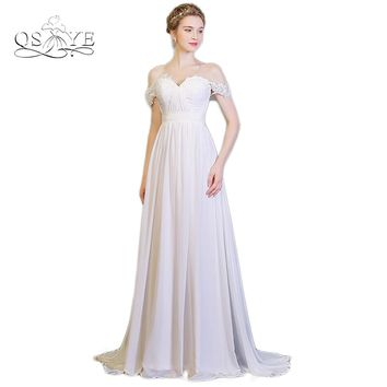 QSYYE 2017 Summer Bohemian Cheap Wedding Dresses Plus Size Off the Shoulder Appliques Chiffon Beach Bridal Gowns