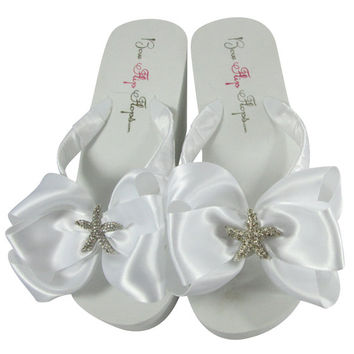 Design your Starfish Bow Wedding Flip Flops - Ivory Wedge Bridal Flip Flops- Rhinestone Bride platform heel, White, brides, bridesmaids