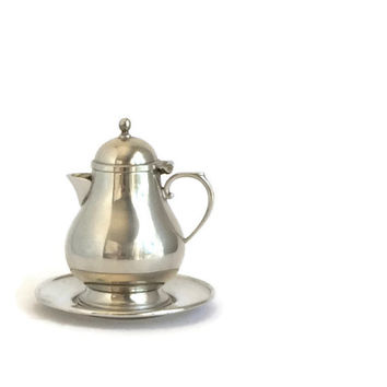 Pewter Creamer and Tray by Queen Art Pewter Made in USA, Vintage American Pewter, Danish Style Pewter, Mid Century, Individual Teapot