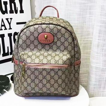 GUCCI Trending Women Men Classic Full GG Letter Print Daypack School Bag Travel Bag Backpack Pink