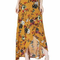 Yellow Floral High Waist Boho Wrap Maxi Skirt
