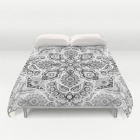 Pattern in Black & White Duvet Cover by Micklyn