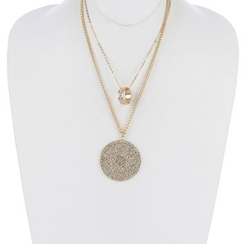 Pave Crystal Stone Metal Disc Pendant Necklace