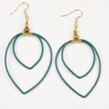 Double Leather Hoop Earring- Emerald