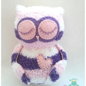 Plush Owl, Purple and Pink Sock Owl, Stuffed Animal, Sock Animal, Baby Shower, Nursery Gift