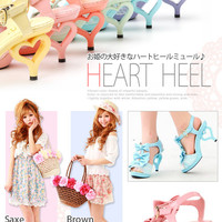 Rakuten: 3 Ribbon  & Heart heel mule- Shopping Japanese products from Japan