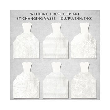 White Wedding Dress Clipart, Wedding Clip Art, Paper Wedding Graphics, Wedding Invitations Images Illustrations and Designs