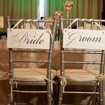Wedding Signs, Bride and Groom Chair Signs with Thank You on the back. Seating Signs. 6 x 12 inches, 2-sided, Reception, Photo Props.