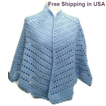 Crochet Cape Poncho  Shawl Hand Crocheted Cape Poncho Shawl Handmade Ready to Ship