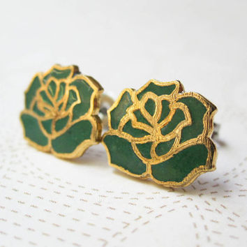 Enamel Earrings - Green Roses - Flower Earrings - Vintage Cabochons - Surgical Steel Earrings - Green Fashion