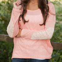 Contrast Lace Accent Long Sleeve T-shirt