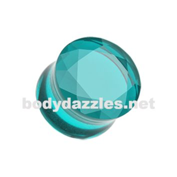 Pair of Teal Faceted Pyrex Glass Gemstone Double Flared Ear Gauge