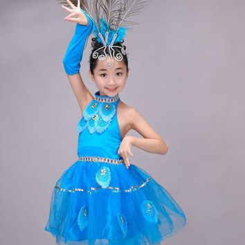 DCCKH6B Newest Children Girls Chinese Costumes Kids Halter Peacock Dance Ethnic Costumes Stage Dancewear