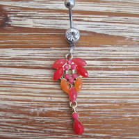 Belly Button Ring - Body Jewelry -Red And Orange Crystals and beads with Clear Gem Stone Belly Button Ring