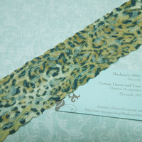 1 yard of 2 inch Leopard Print Stretch elastic lace, animal print lace for headband, garter, lingerie by MarlenesAttic - Item T0