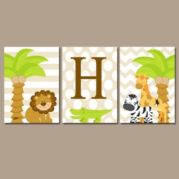 Boy Safari Nursery Wall Art Jungle Animals Decor Baby