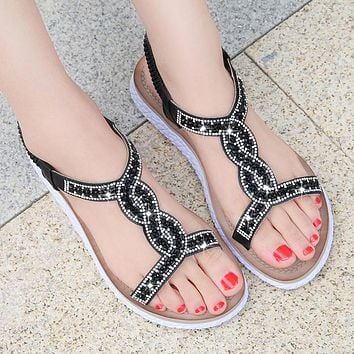 Fashion Sales of Glass Water Diamonds with Large Size Women's Shoes