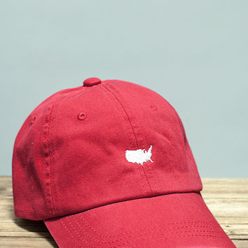 American Silhouette Golf Hat in Red and White by Rowdy Gentleman