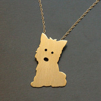 Kawaii Dog Gold Necklace Puppy Charm Gift For Dog by meytalbarnoy