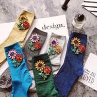 New Fashion Woman Sequins Rhinestone Sunflower Floral Glitter Socks Winter Autumn Casual Sock Female Harajuku Christmas1 Pair