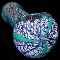 Inside Out Full Color Double Blue & White Hand Blown Glass Pipe Spoon Bowl for Smoking - Ultra Thick Borosilicate Durable Pocket Size Piece