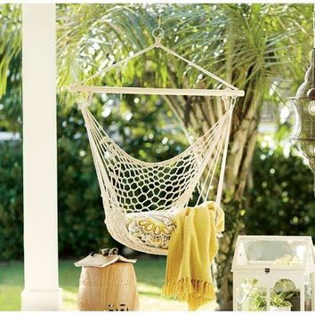 Natural Beige Macrame Boho Hanging Chair