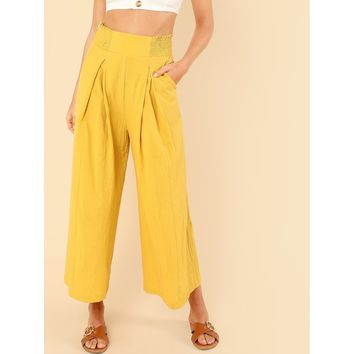 Shirred Wide Waist Loose Pants