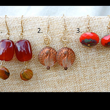 Choice of Red and Gold Small Earrings, trending, stone, Czech glass, peacock, , gift for mom, boho, hippie, Christmas
