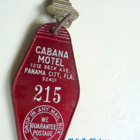 Vintage Hotel Room Key Cabana Motel Panama City Florida