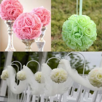 5Pcs/lot  Artificial Silk Flower Rose Balls Wedding Centerpiece Pomander Bouquet Party Decorations [7983226823]