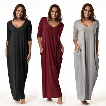 2017 New Fashion Women Plus Size Dress 3/4 Sleeve V-Neck Casual Long Loose Party Dress#20