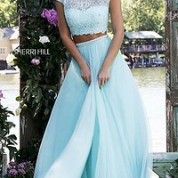 Two Piece Dress with Cap Sleeves by Sherri Hill