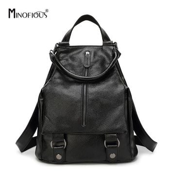 School Backpack trendy MINOFIOUS Women Fashion Genuine Leather Backpacks Soft Multifunction Shoulder Bag Backpack Casual Solid Bucket School bags AT_54_4