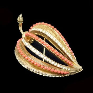 Ribbed Leaf Brooch - Mod Lucite Coral Tone Beads & Clear Rhinestones - Mid Century 1940's - 1950's Coro Designer Signed Francois